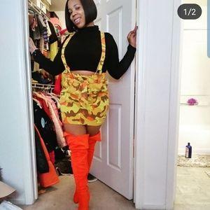 Orange army fatigue overall skirt